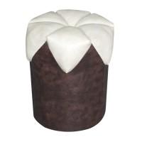 Taburet Rita fix, rotund, imitatie piele maro deschis + crem, 40 x 40 x 42 cm