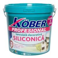 Tencuiala decorativa siliconica Kober Profesional, 1.5 mm, structurata, aspect scoarta de copac, alba, interior / exterior, 25 kg