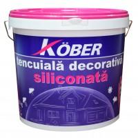 Tencuiala decorativa siliconata Kober Profesional, 1.5 mm, structurata, aspect scoarta de copac, chihlimbar, interior / exterior, 25 kg