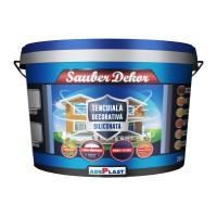 Tencuiala decorativa siliconata Sauber Dekor, 2 mm, structurata, aspect texturat, nisip, interior / exterior, 25 kg