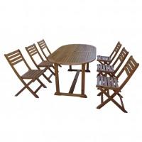 Set masa ovala, cu 6 scaune pentru gradina, din lemn