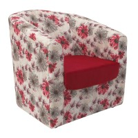 Fotoliu fix Tudor, stofa, rosu + model floral, 1C