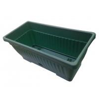Jardiniera plastic Verbena, cu suport, interior/exterior, verde, 40 x 15.5 cm
