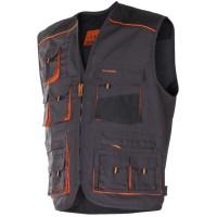 Vesta de protectie Classic, marimea 48, gri inchis + negru + portocaliu