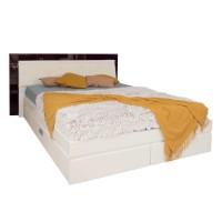 Pat dormitor Vogue, matrimonial, tapitat, cu sertare, alb front + mov lucios, 140 x 200 cm, 5C