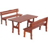 Set masa dreptunghiulara, cu 2 banci cu spatar, pentru gradina Wien, din lemn