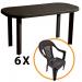 Set masa Garden + 6 scaune Sole, pentru gradina, capucino, din plastic